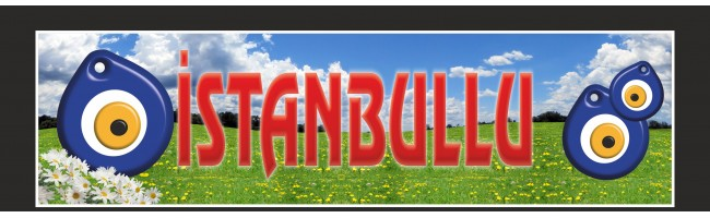 İstanbul Yazılı Nazar Resimli Paçalık Tozluk Tampon Boy 35x120cm
