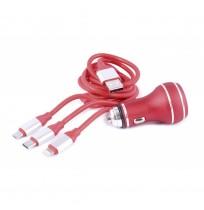 3 Uçlu USB Şarj Kablosu ve Araç İçi Çakmaklık Şarj Cihazı