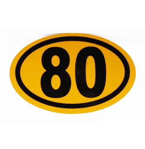 Azami Hız 80 Km Reflektif Sarı Elips Yapıştırma Hız Uyarı Etiketi