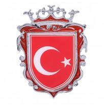 Büyük Boy Döküm Türk Bayrağı Krom Arma - Kırmızı