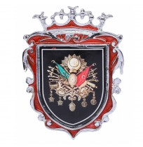 Büyük Boy Döküm Osmanlı Krom Arma - Kırmızı