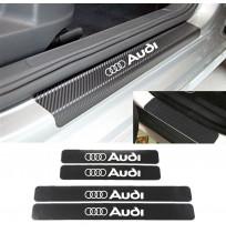 Audi Karbon Kapı Eşiği Koruma Sticker Yapıştırma (4Adet)