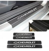 Chevrolet Karbon Kapı Eşiği Koruma Sticker Yapıştırma (4 Adet)