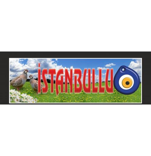 İstanbul Yazılı Keklik Nazar Resimli Paçalık Tozluk Tampon Boy 35x100cm